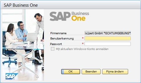 Einstiegsseite zu SAP Business One 2007 A, klicken Sie zum Vergrößern